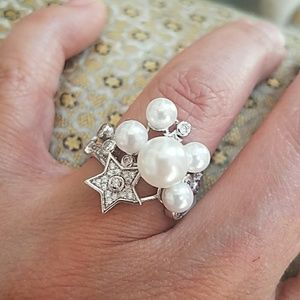 White Gold Plated pearl Large Engagement Ring 7.5